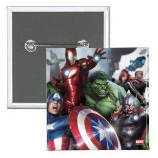 Avengers Classics | Poised For Battle Drawing 2 Inch Square Button
