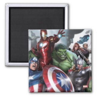 Avengers Classics | Poised For Battle Drawing Square Magnet