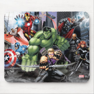 Avengers Defending City Mouse Pad