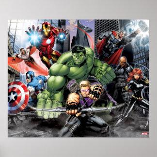 Avengers Defending City Poster