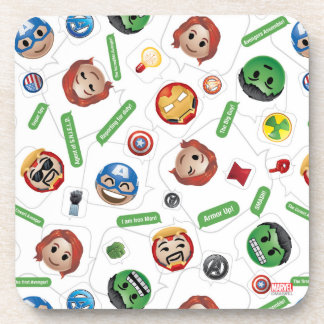 Avengers Emoji Characters Text Pattern Coaster
