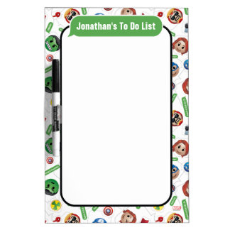 Avengers Emoji Characters Text Pattern Dry Erase Board