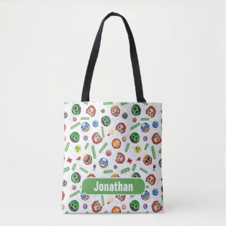 Avengers Emoji Characters Text Pattern Tote Bag