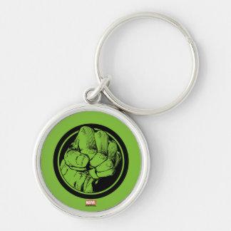 Avengers Hulk Fist Logo Silver-Colored Round Keychain