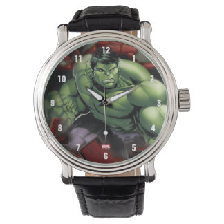 Avengers Hulk Smashing Through Bricks Watch