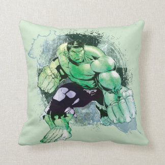 Avengers Hulk Watercolor Graphic Throw Pillow