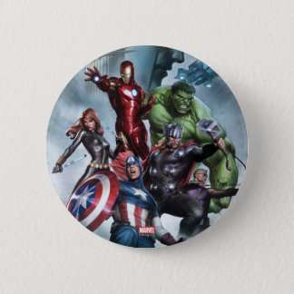 Avengers Versus Loki Drawing 2 Inch Round Button