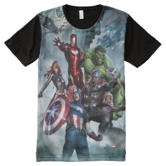 Avengers Versus Loki Drawing All-Over-Print T-Shirt