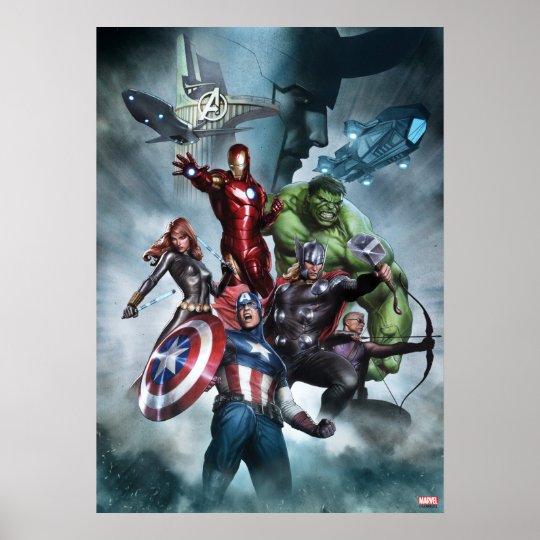 Avengers Versus Loki Drawing Poster