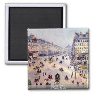 Avenue De L'Opera By Pissarro Camille Square Magnet