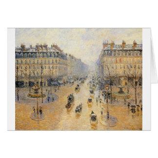 Avenue de l'Opera, Snow Effect by Camille Pissarro Card