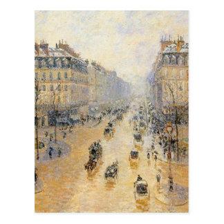 Avenue de l'Opera, Snow Effect by Camille Pissarro Postcard
