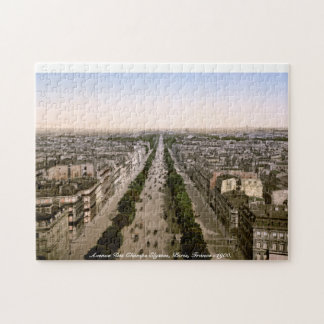 Avenue Des Champs Elysses, Paris, France c1900 Jigsaw Puzzle