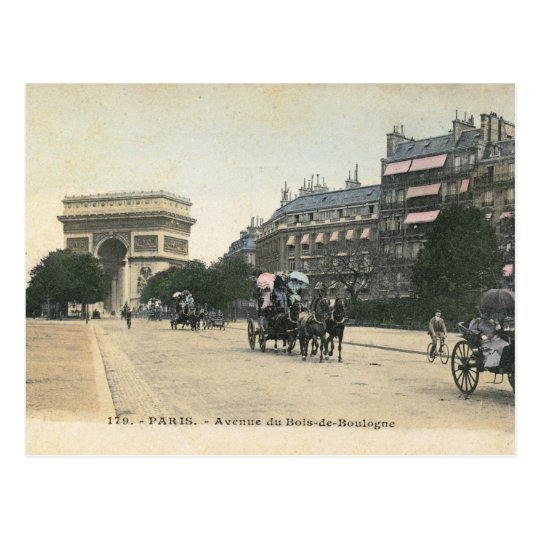 Avenue du Bois de Boulogne, Paris Vintage Postcard