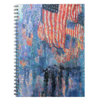 Avenue in the Rain by Childe Hassam, Vintage Art Spiral Notebook