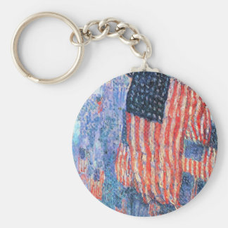 Avenue in the Rain, Hassam, Vintage Impressionism Keychains