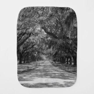 Avenue Of Oaks Grayscale Burp Cloth