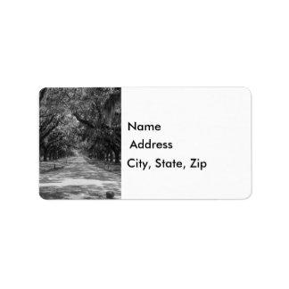 Avenue Of Oaks Grayscale Label