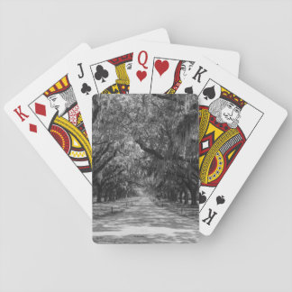 Avenue Of Oaks Grayscale Playing Cards