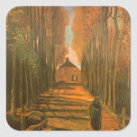Avenue of Poplars in Autumn by Vincent van Gogh Square Sticker