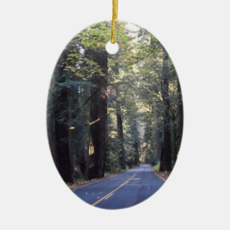 Avenue of the Giants- Humboldt Redwoods State Park Ceramic Oval Ornament