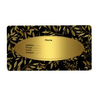 Avery Address Label Black Gold Floral