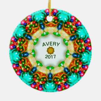 AVERY ~ Personalized Fractal Christmas Designs ~ Ceramic Ornament