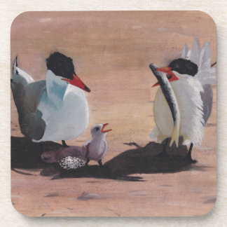Avian Family Feeding Time Beverage Coasters