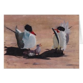 Avian Family Feeding Time Greeting Card