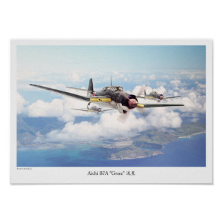 "Aviation Art Poster ""Aichi B7A "" Grace """""