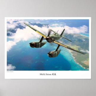 """Aviation Art Poster """"Aichi M6A Seiran clear storm"""