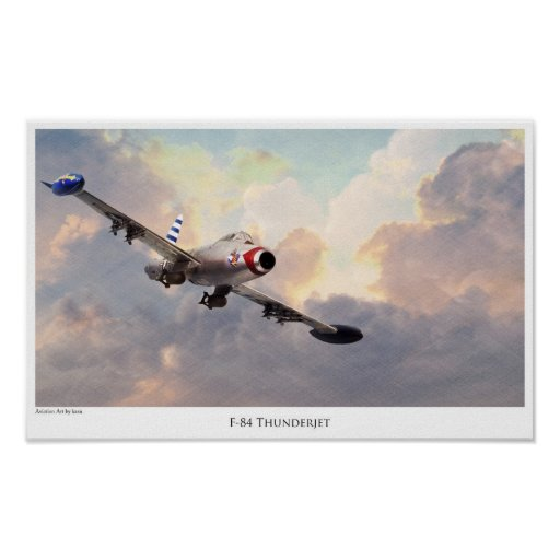 """Aviation Art Poster """"F-84 Thunderjet """""""
