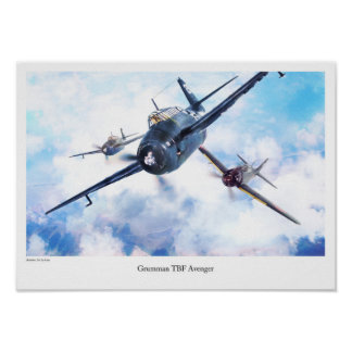"Aviation Art Poster ""Grumman TBF Avenger """