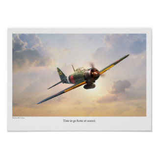 "Aviation Art Poster ""Mitsubishi A6M Zero """