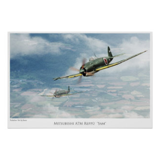 "Aviation Art Poster "" Mitsubishi A7M Reppū""Sam"""""