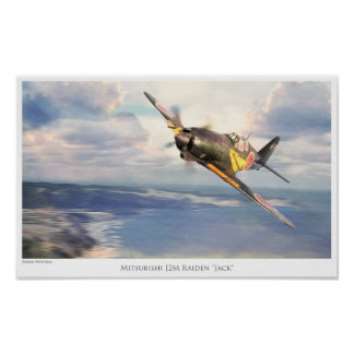 "Aviation Art Poster ""Mitsubishi J2M Raiden""Jack"""