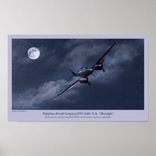 "Aviation Art Poster ""Nakajima J1N Irving """