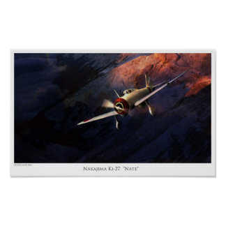 "Aviation Art Poster ""Nakajima Ki-27 "" Nate"" """