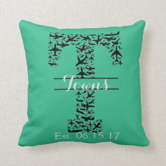 Aviation Pillow for Newlyweds, Monogram T