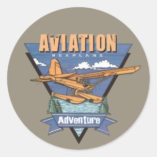 Aviation Seaplane Adventure Classic Round Sticker