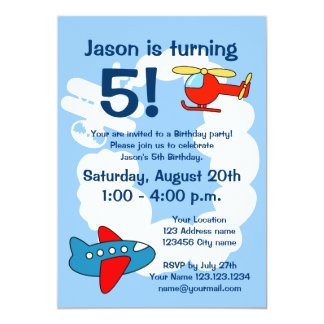 Aviation theme Birthday party invitations for kids