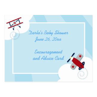 Aviator Airplane Baby Shower Advice Cards Postcard