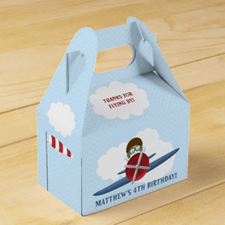 Aviator and His Plane Wedding Favor Boxes