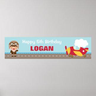 Aviator Boy Airplane Birthday Party Banner Poster
