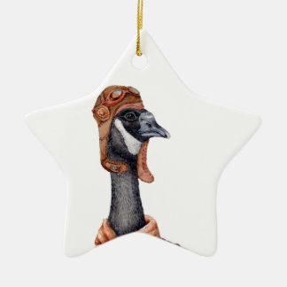Aviator Goose Ceramic Ornament