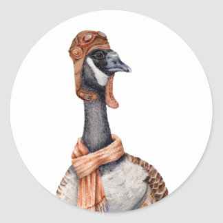 Aviator Goose Classic Round Sticker