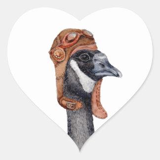 Aviator Goose Heart Sticker