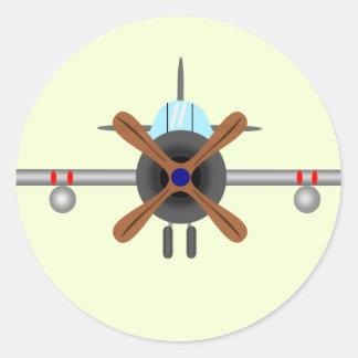 Aviator Plane Classic Round Sticker