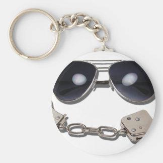 AviatorGlassessHandcuffs103110 Basic Round Button Keychain