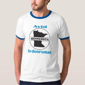 """""""Avid In-doorsman"""" men's white/blue tshirt"""